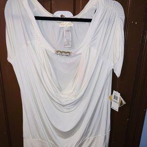 Babyphat white cowl neck blouse size 1x NWT